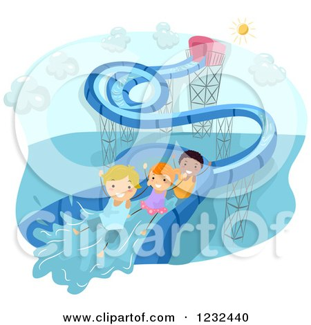 Clipart of Happy Diverse Kids Going down a Water Slide - Royalty Free Vector Illustration by BNP Design Studio