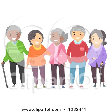 Clipart of a Diverse Group of Elderly Friends - Royalty Free Vector Illustration by BNP Design Studio