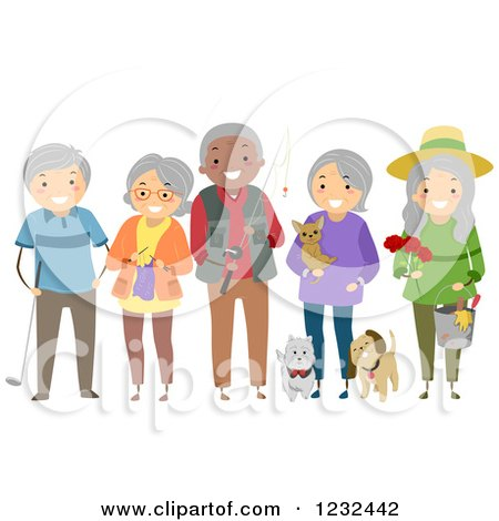 Diverse Group of Elderly Friends Showing Their Hobbies and Interests Posters, Art Prints