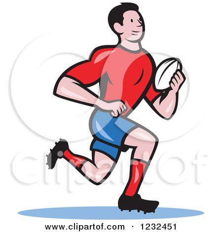 Clipart of a Cartoon Rugby Player Running - Royalty Free Vector Illustration by patrimonio