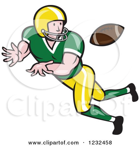Clipart of a Gridiron American Football Player Catching - Royalty Free Vector Illustration by patrimonio