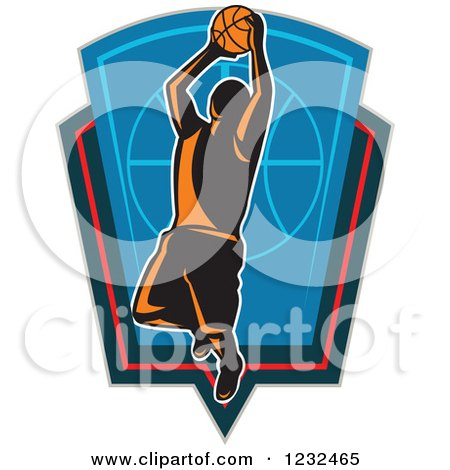Clipart of a Basketball Player Jumping over a Shield - Royalty Free Vector Illustration by patrimonio