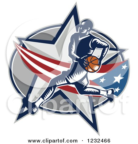 Clipart of a Woodcut Basketball Player over an American Swoosh and Star - Royalty Free Vector Illustration by patrimonio