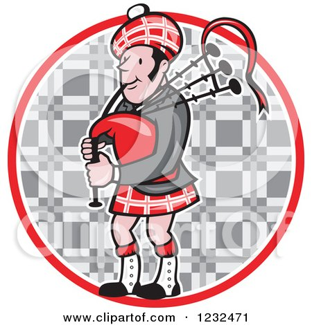 Clipart of a Scotsman Playing the Bagpipes over a Tartan Circle - Royalty Free Vector Illustration by patrimonio