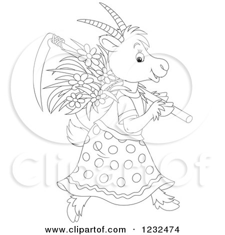 Clipart of a Black and White Female Coat with Flowers and a Scythe - Royalty Free Vector Illustration by Alex Bannykh
