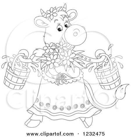 Clipart of a Black and White Female Cow with Flowers and Milk Buckets - Royalty Free Vector Illustration by Alex Bannykh