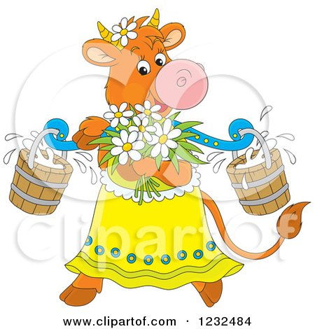 Clipart of a Female Cow with Flowers and Milk Buckets - Royalty Free Vector Illustration by Alex Bannykh
