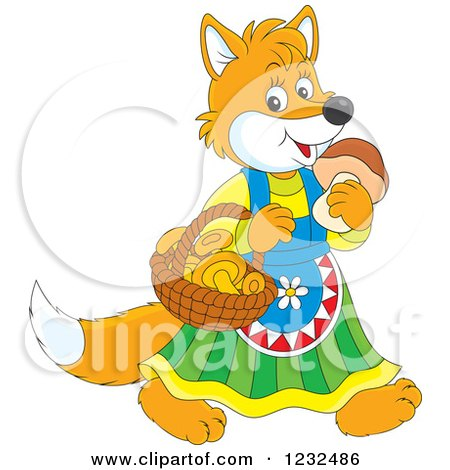 Clipart of a Female Fox with a Basket of Mushrooms - Royalty Free Vector Illustration by Alex Bannykh