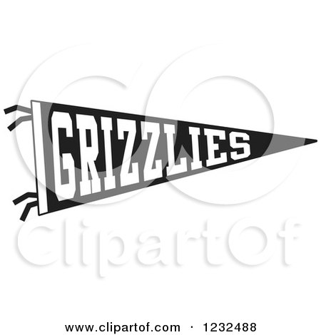 Clipart of a Black and White GRIZZLIES Team Pennant Flag - Royalty Free Vector Illustration by Johnny Sajem