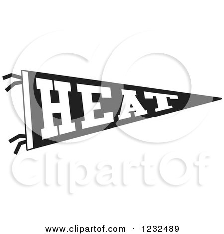 Clipart of a Black and White HEAT Team Pennant Flag - Royalty Free Vector Illustration by Johnny Sajem