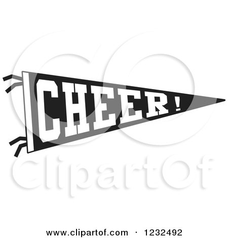 Clipart of a Black and White CHEER Team Pennant Flag - Royalty Free Vector Illustration by Johnny Sajem