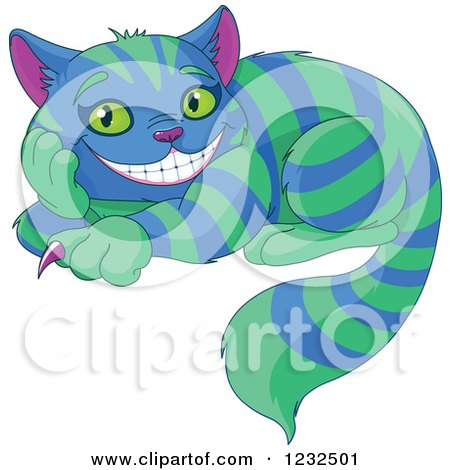 Clipart of the Cheshire Cat with Green And Blue Stripes - Royalty Free Vector Illustration by Pushkin