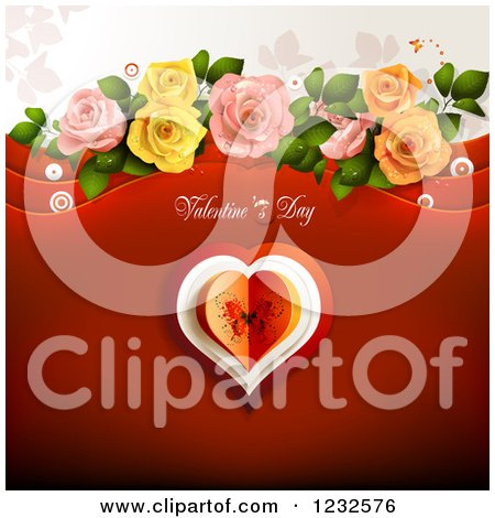Clipart of a Valentine Background with Text over a Butterfly Heart, Foliage and Roses - Royalty Free Vector Illustration by merlinul