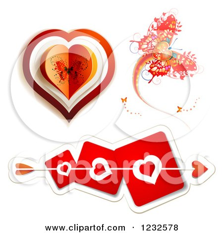 Clipart of Cupids Arrow Through Red Heart Cards, Butterfly and Valentine - Royalty Free Vector Illustration by merlinul