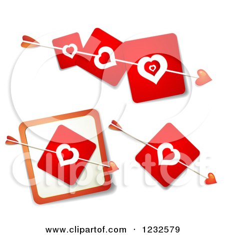 Clipart of Cupids Arrows Through Red Heart Cards - Royalty Free Vector Illustration by merlinul