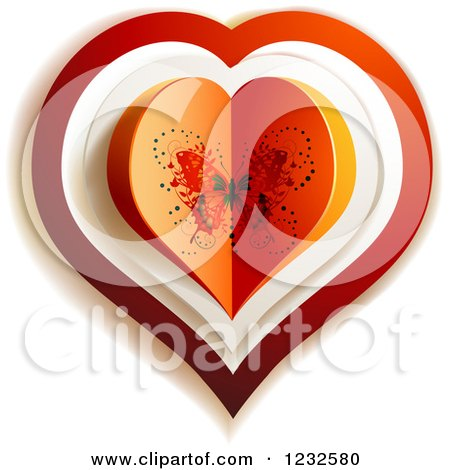 Clipart of a Butterfly Valentine Heart - Royalty Free Vector Illustration by merlinul