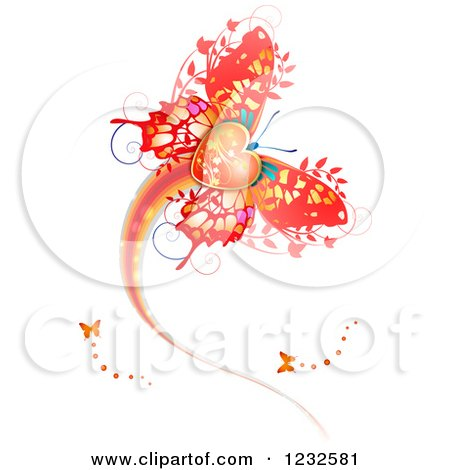 Clipart of a Flying Valentine Butterfly - Royalty Free Vector Illustration by merlinul