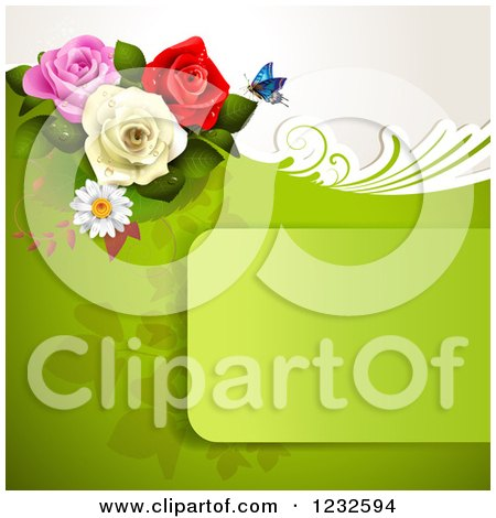 Clipart of a Green Frame and Background with Roses and a Butterfly - Royalty Free Vector Illustration by merlinul
