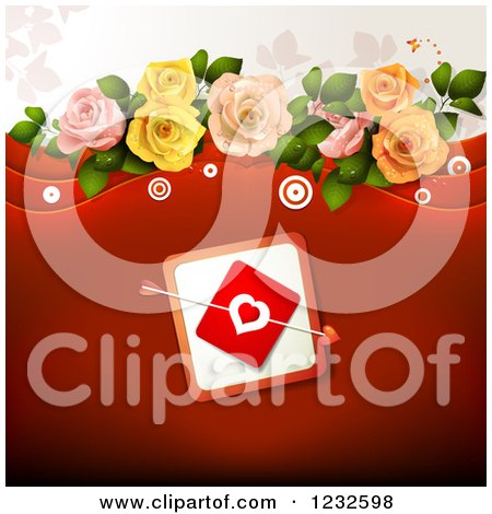 Clipart of a Red Valentine Background with Cupids Arrow Through a Heart Card and Roses - Royalty Free Vector Illustration by merlinul