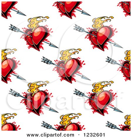 Clipart of a Seamless Background of Cupids Arrows and Flaming and Bloody Red Hearts - Royalty Free Vector Illustration by Vector Tradition SM