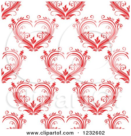 Clipart of a Seamless Background of Floral Red Hearts - Royalty Free Vector Illustration by Vector Tradition SM