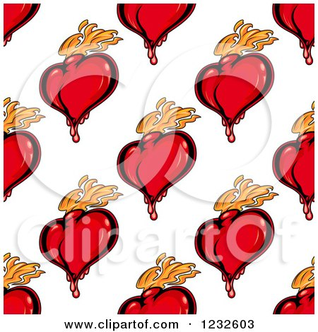 Clipart of a Seamless Background of Flaming and Bloody Red Hearts - Royalty Free Vector Illustration by Vector Tradition SM