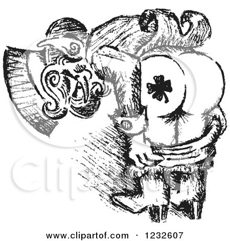 Clipart of a Black and White Sketched St Patricks Day Leprechaun Mooning to Show His Shamrock Tattoo - Royalty Free Vector Illustration by Andy Nortnik