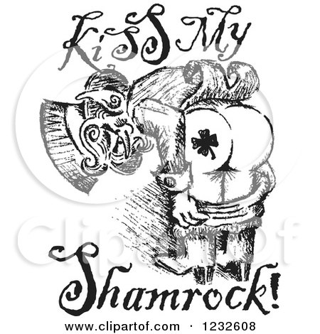 Clipart Of A Black And White Sketched St Patricks Day Leprechaun