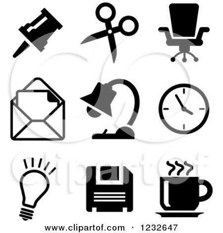 Clipart of Black and White Business Icons 3 - Royalty Free Vector Illustration by Vector Tradition SM