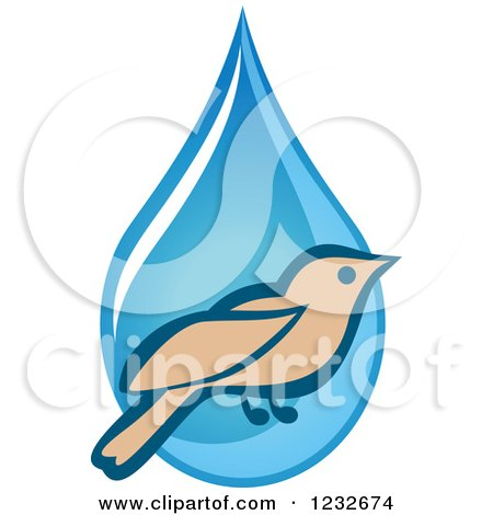 Clipart of a Bird over a Blue Waterdrop - Royalty Free Vector Illustration by Vector Tradition SM