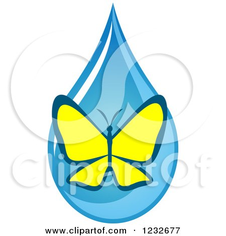 Clipart of a Yellow Butterfly over a Blue Waterdrop - Royalty Free Vector Illustration by Vector Tradition SM
