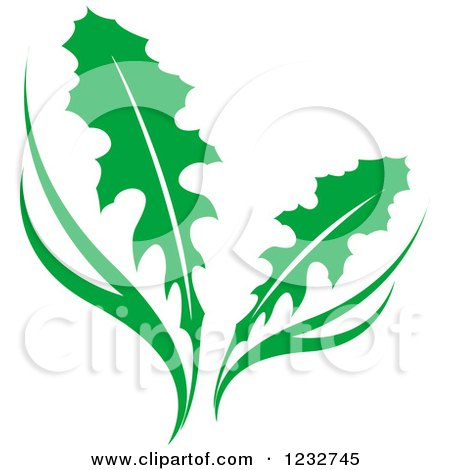 Clipart of a Green Dandelion Plant Logo - Royalty Free Vector Illustration by Vector Tradition SM