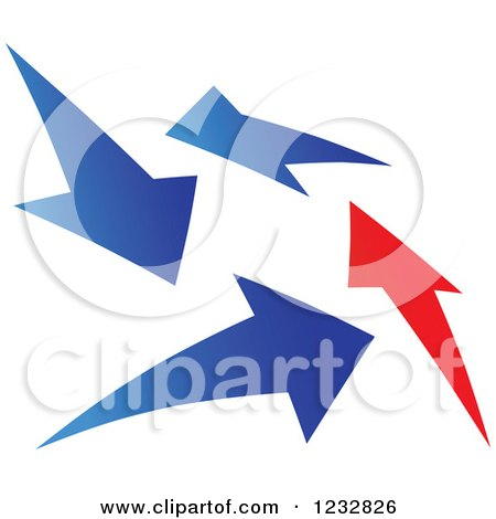 Clipart of a Blue and Red Arrow Logo 2 - Royalty Free Vector Illustration by Vector Tradition SM