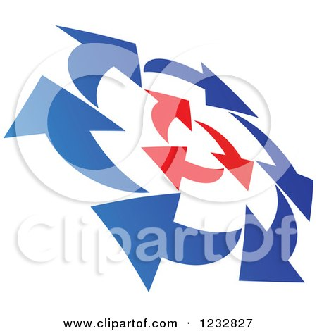 Clipart of a Blue and Red Arrow Logo - Royalty Free Vector Illustration by Vector Tradition SM