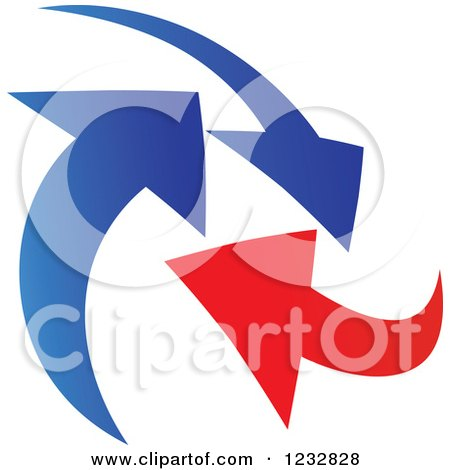 Clipart of a Blue and Red Arrow Logo 6 - Royalty Free Vector Illustration by Vector Tradition SM