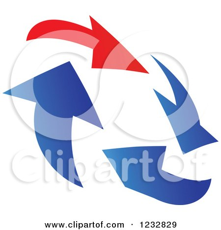 Clipart of a Blue and Red Arrow Logo 3 - Royalty Free Vector Illustration by Vector Tradition SM