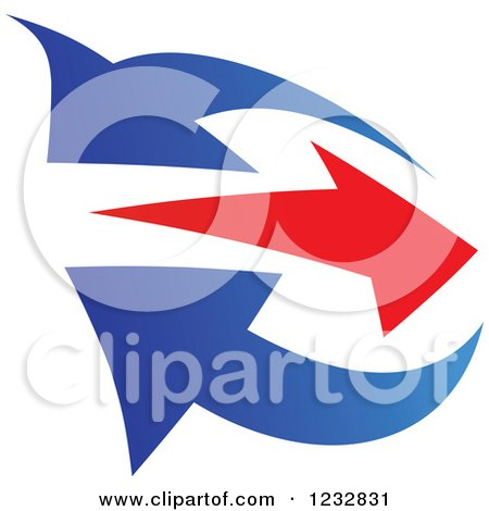 Clipart of a Blue and Red Arrow Logo 5 - Royalty Free Vector Illustration by Vector Tradition SM