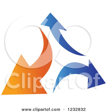 Clipart of a Blue and Orange Arrow Logo 5 - Royalty Free Vector Illustration by Vector Tradition SM