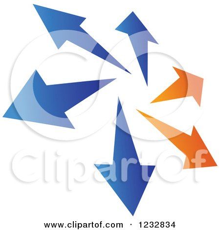 Clipart of a Blue and Orange Arrow Logo 2 - Royalty Free Vector Illustration by Vector Tradition SM