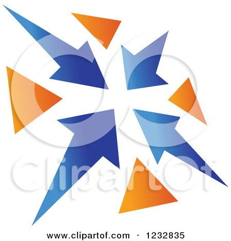 Clipart of a Blue and Orange Arrow Logo 3 - Royalty Free Vector Illustration by Vector Tradition SM