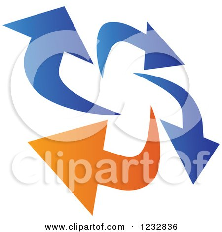 Clipart of a Blue and Orange Arrow Logo 9 - Royalty Free Vector Illustration by Vector Tradition SM