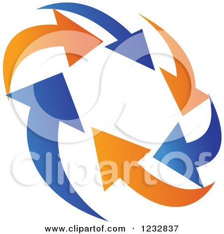 Clipart of a Blue and Orange Arrow Logo 8 - Royalty Free Vector Illustration by Vector Tradition SM