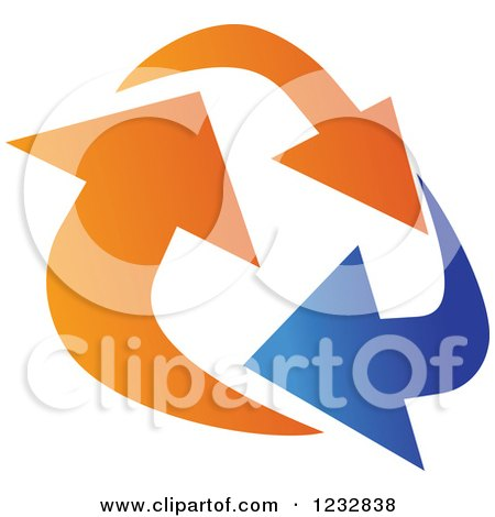 Clipart of a Blue and Orange Arrow Logo 7 - Royalty Free Vector Illustration by Vector Tradition SM
