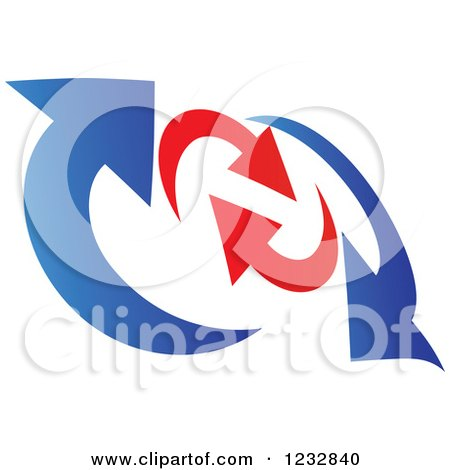 Clipart of a Blue and Red Arrow Logo 8 - Royalty Free Vector Illustration by Vector Tradition SM
