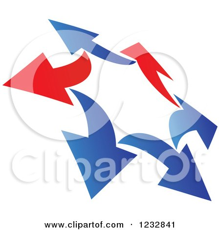 Clipart of a Blue and Red Arrow Logo 9 - Royalty Free Vector Illustration by Vector Tradition SM