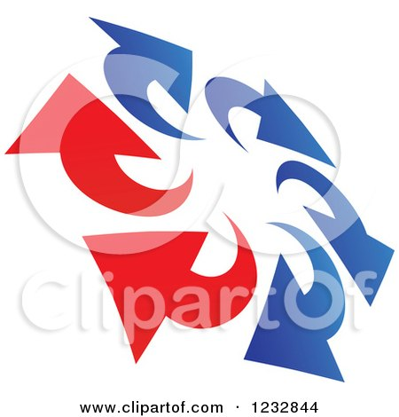 Clipart of a Blue and Red Arrow Logo 7 - Royalty Free Vector Illustration by Vector Tradition SM