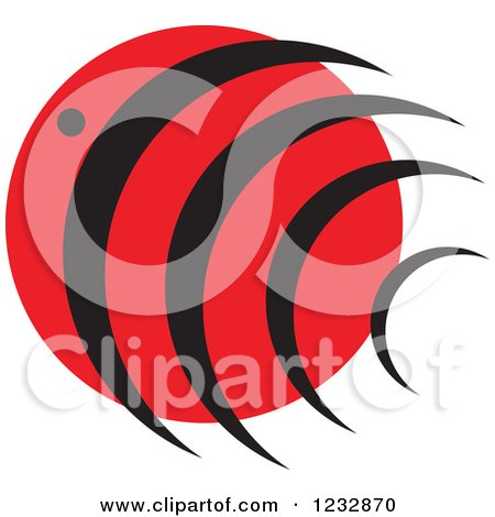 Clipart of a Red and Black Fish Logo - Royalty Free Vector Illustration by Vector Tradition SM
