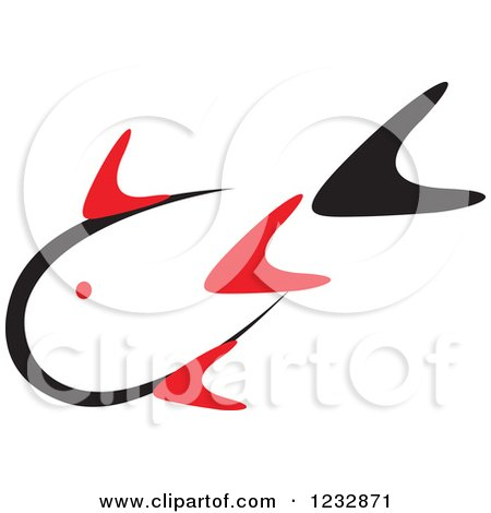 Clipart of a Red and Black Fish Logo 7 - Royalty Free Vector Illustration by Vector Tradition SM