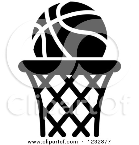 Clipart of a Black and White Basketball Sports Icon ...
