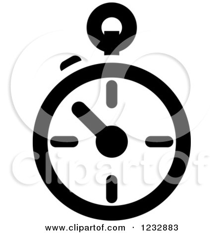 Clipart of a Black and White Stop Watch Sports Icon - Royalty Free Vector Illustration by Vector Tradition SM